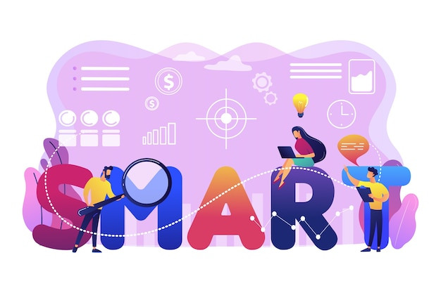 Tiny business people working on goals and sitting on smart word. smart objectives, objective establishment, measurable goals development concept. bright vibrant violet  isolated illustration