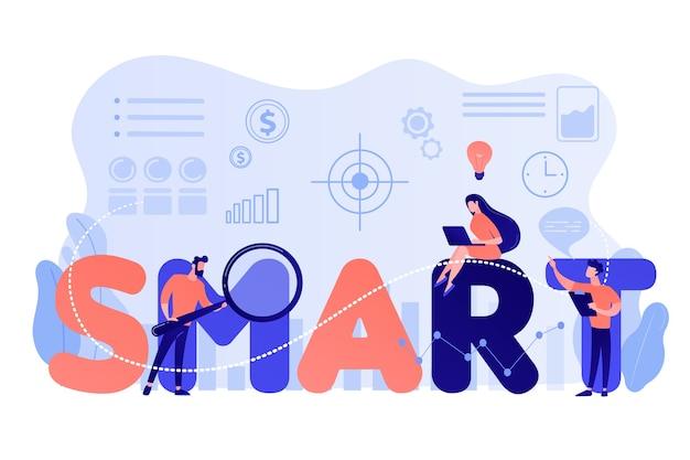 목표를 달성하고 똑똑한 단어에 앉아있는 작은 사업 사람들. smart 목표, 목표 설정, 측정 가능한 목표 개발 개념