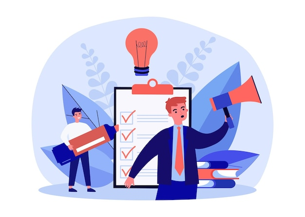 Tiny business people working with checklist. businessman with megaphone announcing agenda list flat vector illustration. business reminder concept for banner, website design or landing web page