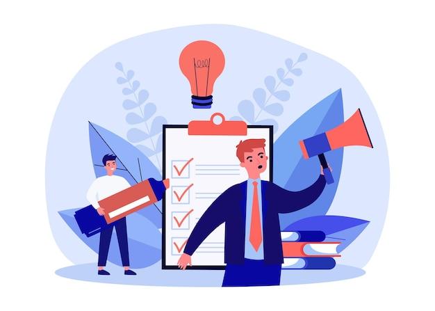 Крошечные деловые люди, работающие с контрольным списком. бизнесмен с мегафоном, объявляя список повестки дня плоские векторные иллюстрации. бизнес-концепция напоминания для баннера, дизайна веб-сайта или целевой веб-страницы