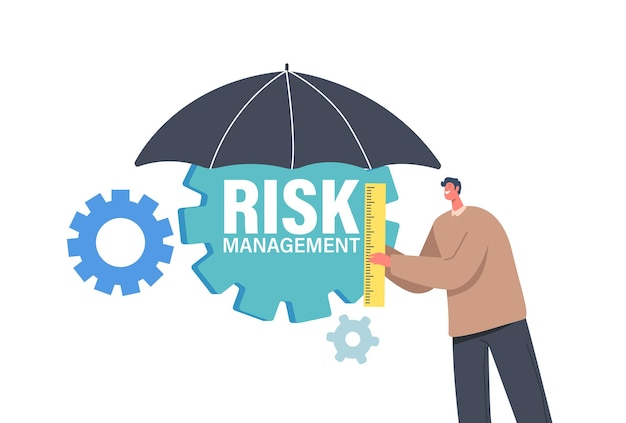 Tiny businessman character holding ruler stand under umbrella with cogwheels. minimize risks, management and analysis of finance investment, planning or assessment. cartoon people vector illustration