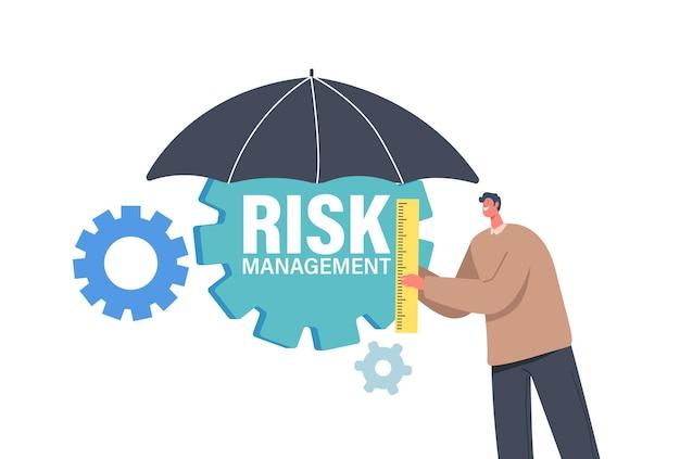 定規を保持している小さなビジネスマンのキャラクターは、歯車で傘の下に立っています。リスクを最小限に抑え、金融投資、計画、または評価の管理と分析を行います。漫画の人々のベクトル図