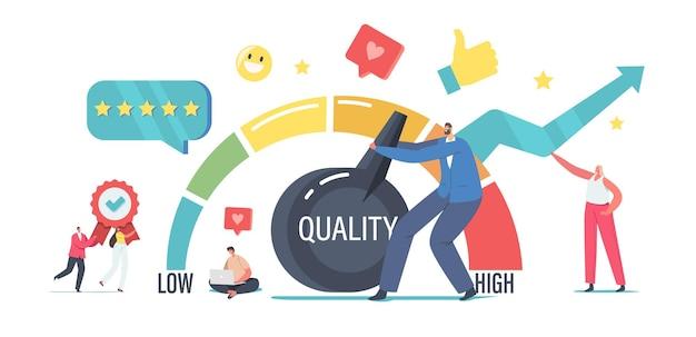小さなビジネスマンのキャラクターが巨大なレバーアームを引いてレベルの品質を高め、顧客の最高評価率を満足させます。成功のための作業効率ソリューション管理。漫画の人々のベクトル図
