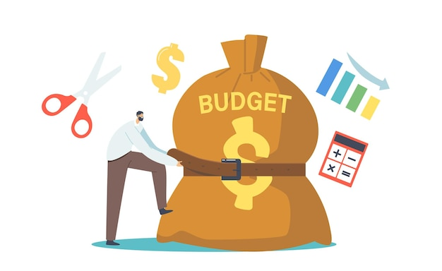 Tiny businessman character tight huge budget sack with belt. businessman in economy crisis situation trying to reduce money spending. investment decrease, sale drop. cartoon people vector illustration
