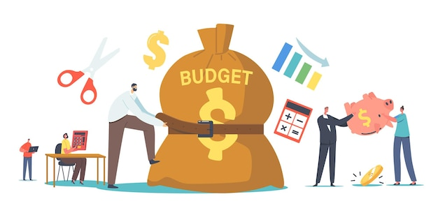Tiny businessman character tight huge budget sack with belt. poor man and woman with empty piggy bank. frustrated, disappointed businesspeople economy crisis. cartoon people vector illustration