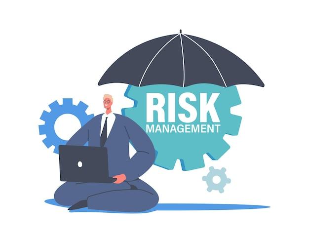 歯車付きの巨大な傘の下でラップトップに取り組んでいる小さなビジネスマンのキャラクター。トレーダーはリスクを最小限に抑え、金融投資の株式市場を分析および評価します。漫画の人々のベクトル図
