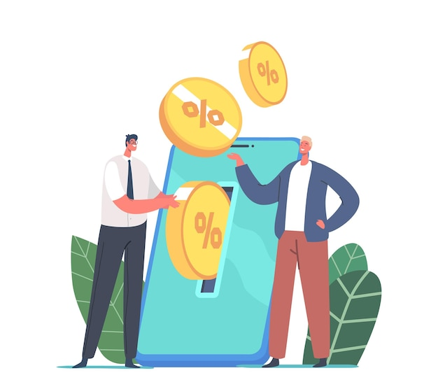 Tiny businessman male character put money at huge smartphone screen with golden coin percents. mobile savings account, online deposit, man collect money, investment. cartoon people vector illustration