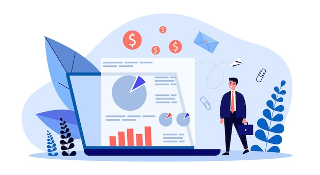 마케팅 분석 옆에 서류 가방을 든 작은 사업가. 비즈니스 분석 평면 벡터 일러스트 레이 션을 보고 하는 남자. 관리, 배너, 웹 사이트 디자인 또는 방문 웹 페이지에 대한 전략 개념