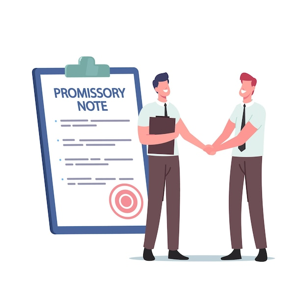 Tiny businessmen characters shaking hand at huge promissory note document, simple loan agreement, promise to pay, money borrowing, credit deal, legal contract. cartoon people vector illustration