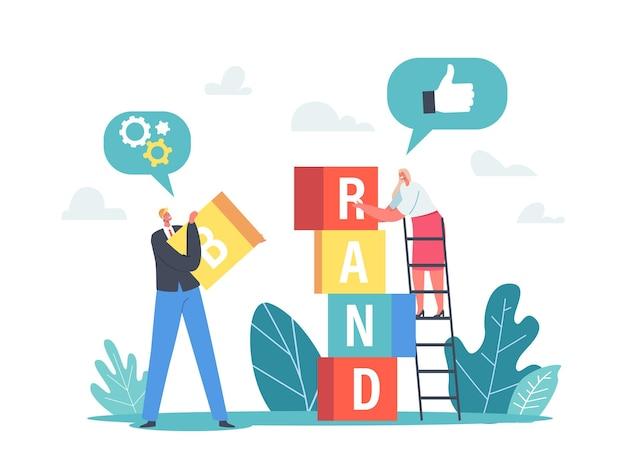 Персонажи-крошечные бизнесмены вместе строят башню из цветных кубиков. маркетинговая и рекламная кампания, повышение узнаваемости бренда, концепция развития компании. мультфильм люди векторные иллюстрации