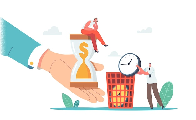 Tiny businesswoman character sitting on huge hourglass with dollar inside, man throw out clock in litter bin. time and money wasting in business, procrastination. cartoon people vector illustration