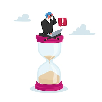 Tiny businesswoman character sitting on huge hourglass with laptop in hands