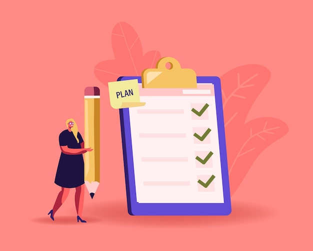 Tiny businesswoman character with huge pencil at checklist with marks in check boxes on clipboard