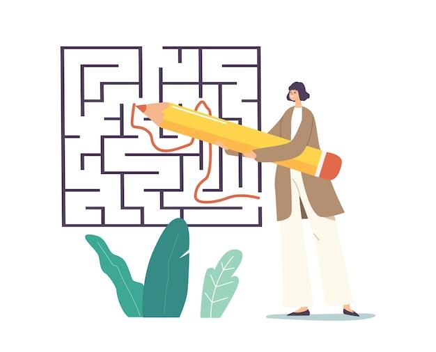 Крошечный персонаж-бизнесвумен с огромным способом рисования карандашом в поиске лабиринта. ответ, идея, понимание, проблема. женский персонаж выясняет выход в лабиринте, сложная задача. векторные иллюстрации шаржа