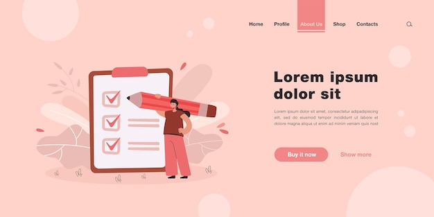Tiny businesswoman checking completed tasks on clipboard landing page in flat style