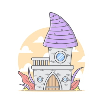 Tiny castle house illustration with clouds and sky