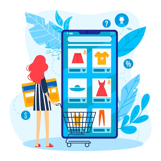 Tiny character female online shopping store, woman standing mobile phone and choice clothing isolated on white, cartoon illustration.