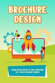 小さなキャラクターがスタートアップロケットを発射します。モニター、コンピューター、アイデアフラットベクトルイラスト