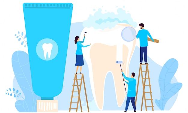 小さなキャラクターの人々は、歯科、男性と女性の歯科医が白、イラストの歯を扱います。ウェブサイト。