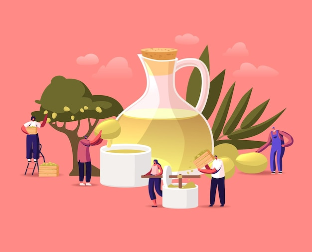 Tiny characters around of huge extra virgin olive oil glass jug growing, collecting and pressing green fresh olives on nature background. farmers natural production. cartoon people vector illustration