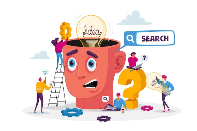 Tiny characters around huge head with light bulb. business team search insight for project development. teamworking and searching idea concept
