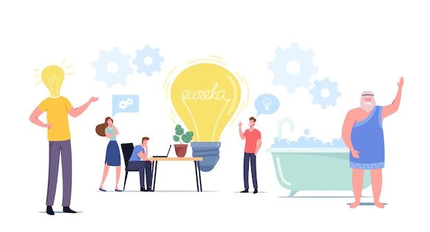 Крошечные персонажи вокруг огромной идеи поиска лампочки. анализ поиска бизнес-команды для разработки проекта. процесс совместной работы и архимед, говорящий эврику в бате. векторные иллюстрации шаржа