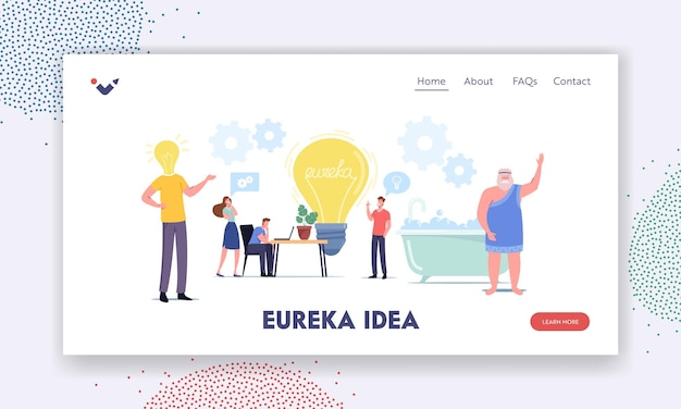 Tiny characters around huge light bulb searching idea landing page template. business team search insight for project development. teamwork, archimedes say eureka in bath. cartoon vector illustration