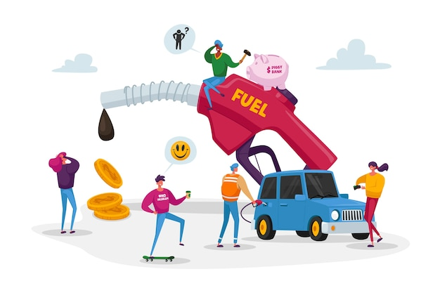 Крошечные персонажи вокруг огромного шланга для заправки бензина