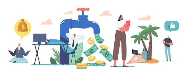 Крошечные персонажи вокруг огромного крана с денежным потоком. инвестирование на фондовом рынке, онлайн-монетизация. удаленная работа, внештатная работа. пассивный доход, концепция арендной деятельности. мультфильм люди векторные иллюстрации