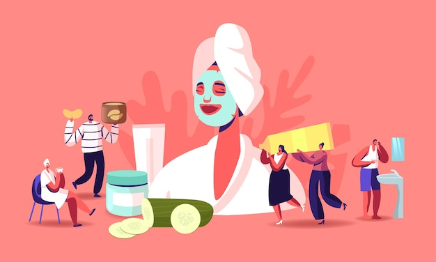 Tiny characters around of huge woman with facial mask, cucumber slices and cream jars. face skin care and treatment, spa, natural beauty and cosmetology concept. cartoon people vector illustration