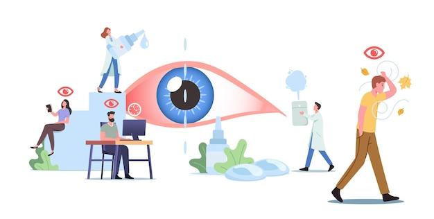 거대한 눈 주변의 작은 캐릭터. des, 안구 건조 증후군 및 결막염 질환으로 고통받는 사람들 방문 클리닉. 의료 및 제약 개념, 비전 치료. 만화 벡터 일러스트 레이 션