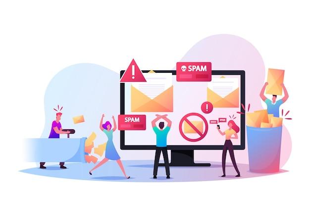 스팸 이메일 경고 창이 있는 거대한 컴퓨터의 작은 문자가 화면에 나타납니다. 바이러스, 불법 복제, 해킹 및 보안, 전자 메일 보호, 맬웨어 방지의 개념. 만화 사람들 벡터 일러스트 레이 션