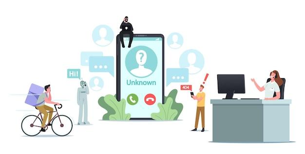 거대한 스마트폰의 작은 캐릭터가 모르는 번호로 전화를 받습니다. 사기꾼, 전화 서비스 또는 가입자에게 봇 호출
