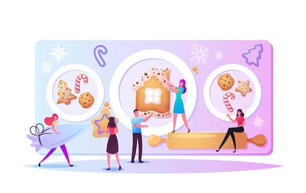 巨大なクリスマスベーカリー、クッキーまたはお菓子を焼く小さなキャラクター。休日のお祝いのためのお祝いの活動の準備。機器や材料を持っている人はデザートを焼きます。漫画のベクトル図