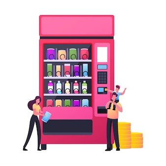 Tiny characters buying snacks in vending machine.
