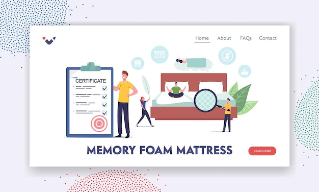 Tiny characters choose and buy orthopedic mattress for correct sleeping landing page template. man with certificate and magnifier, woman with feather in bedroom. cartoon people vector illustration