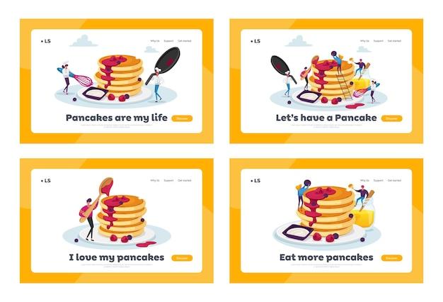 自家製パンケーキのランディングページテンプレートセットを調理して食べる小さなキャラクター