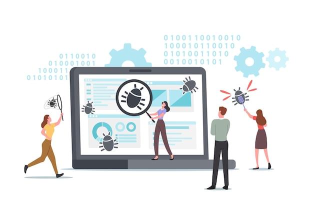 ファイアウォールをデバッグする小さな文字。ウイルス対策スキャン、マルウェア修正、ウイルス攻撃、トロイの木馬検索、バグ検出。システム保護。人々は診断衝突試験を脅かします。漫画のベクトル図