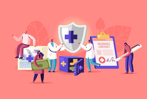 Tiny characters fill huge health policy document, male doctors holding protective shield with cross. people signing health insurance for medical protection, life guarantee. cartoon vector illustration