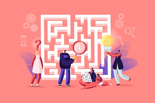 Tiny characters finding idea, solution in labyrinth. challenge and problem solving concept. confused people at maze entrance thinking how to pass difficult way for success. cartoon vector illustration
