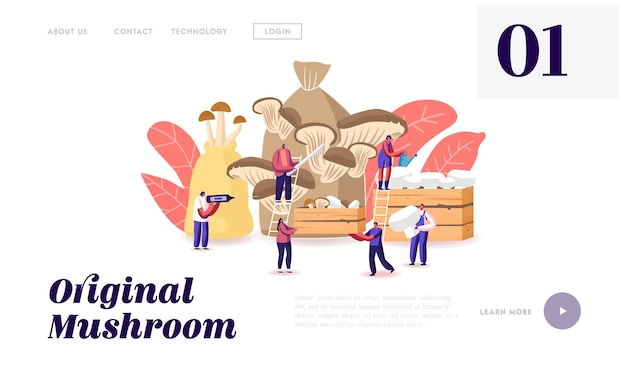 Tiny characters growing mushrooms at home landing page template.