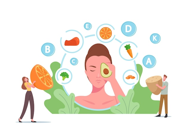 Tiny characters at huge female head with avocado on face, healthy food for skin health, fruits, fortified products
