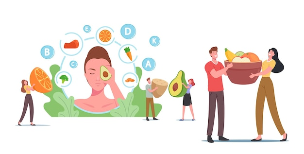 Tiny characters at huge female head with avocado, people eat healthy food for skin health, vegetables, berries and fruits fortified products, organic greenery, vitamin c. cartoon vector illustration