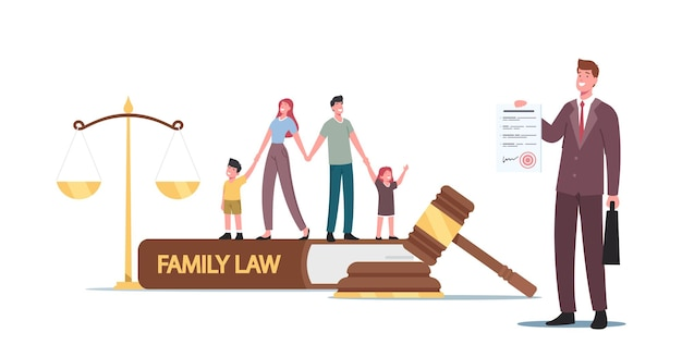 Tiny characters husband, wife and kids at huge gavel, scales and family law book in judge courthouse during court hearing. divorce, child custody or alimony concept. cartoon people vector illustration
