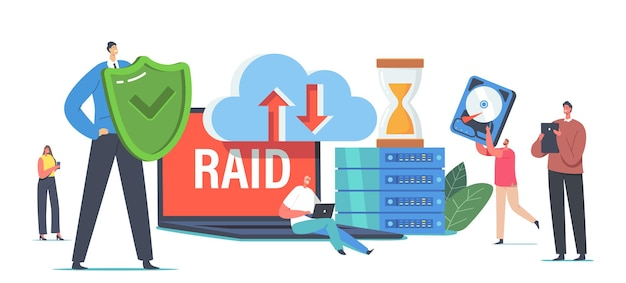 Raid、独立したディスクストレージの冗長アレイ、バックアップコンセプトを備えた巨大なラップトップ周辺のデータセンターの小さな文字。最新のテクノロジーとホスティングサーバー。漫画の人々のベクトル図