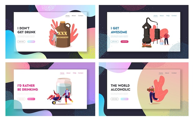 Tiny characters make moonshine at home landing page template set.