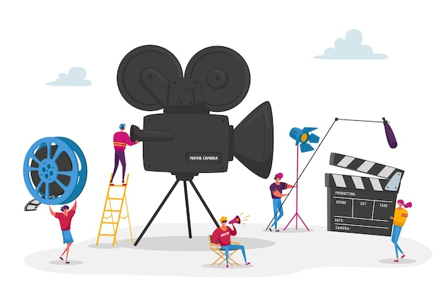 Tiny characters making movie operator using camera and staff