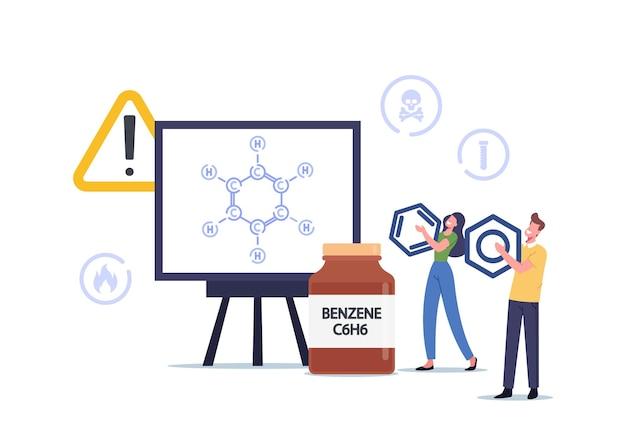 ベンゼン環炭化水素式c6h6の巨大スクリーンの近くの小さな文字。自動車に燃料を補給するための石油、車両用の輸送用ガソリン。生化学モデル。漫画の人々のベクトル図