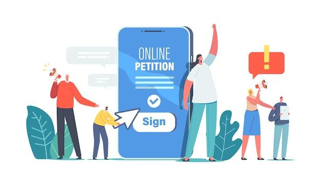거대한 스마트폰 근처에 있는 작은 캐릭터들이 온라인 청원서에 서명하기 위해 확성기를 부르라고 소리칩니다. 집단 항소 서비스. 정부를 위한 문서 서명 및 배포. 만화 사람들 벡터 일러스트 레이 션