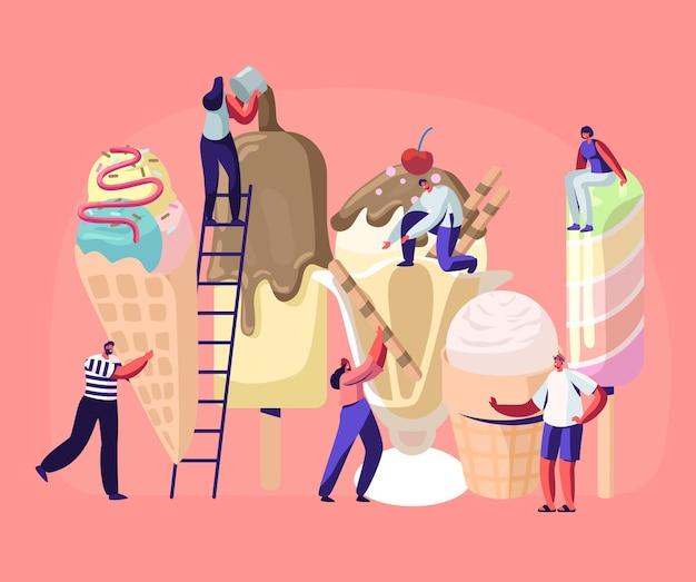Крошечные персонажи на лестницах украшают мороженое. летняя еда, вкусный сладкий десерт, холодная еда.